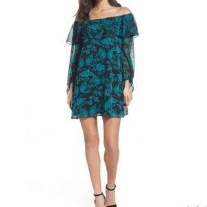Sam Edelman Off the Shoulder Print Shift Dress NWT